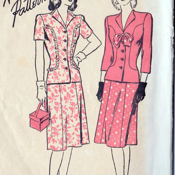 1940s Misses Two Piece Dress Vintage Sewing Pattern, Advance 3980 Bust 32""