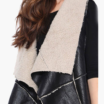 Black Leather and Faux Fur Vest Coat