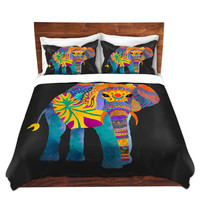 Whimsical Elephant on Black Bed Duvet Cover – For Twin, Queen and King Size Beds