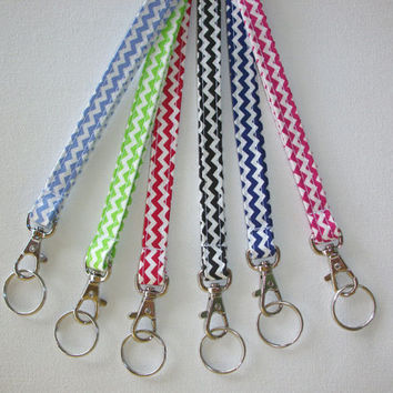 Lanyard  ID Badge Holder - NEW THINNER design - Your choice of chevron zigzag zig zag  - Lobster clasp and key ring