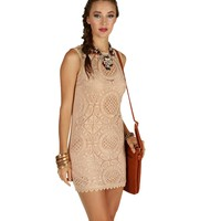 Sale-pink Medallion Crochet Shift Dress