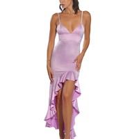 Delana Lavender High-Low Side Ruffled Satin Dress