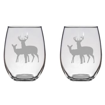 Deer Couple Engraved Glasses, Hunter, FREE PERSONALIZATION