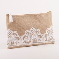 Lacey Jute Cosmetic Bag in Natural & White - Great for Bridesmaids