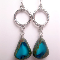 Textured Stone Earrings - Turquoise Picasso - Czech Glass Earrings - Stone Picasso - Turquoise Stone - Tablecut