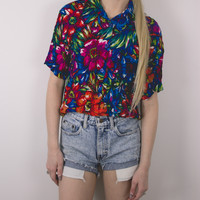 Vintage Hawaiian Floral Button Up Blouse