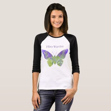 Fibro Warrior Pastel Butterfly TShirt Black Sleeve