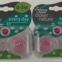 Tommee Tippee Pacifiers 2 Pack Pink Closer To Nature Silicone 0-3m Infant Baby