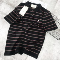 GUCCI New fashion embroidery bee stripe lapel couple top t-shirt
