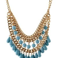 Lt Blue Dangling Bead & Chain Collar Necklace by Charlotte Russe