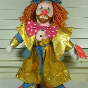"""Hobo Joe Clown Doll Limited Edition by Applause Vintage 1988 Ron Lee 14"""" Doll with Stand"""