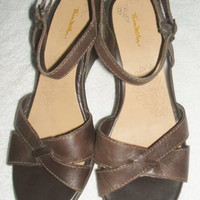 Womens Shoes Thom Mcan Size 8.5 Strappy Platform Wedge Heel Ankle Strap Brown Leather Sandals Open Toe
