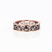 Finnish Garnet filigree ring made from white and rose gold, filigree engagement ring, ethical gem, red engagement, two tone, vintage, unique