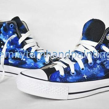 galaxy converse sneakers custom converse shoes hand painting