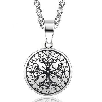 ABAICER - viking Protection Runes Talisman Pendant Necklace 316L Stainless Steel viking odin's symbol of norse runic Jewelry