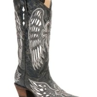 Corral Ladies Distressed Black w/ Winged Cross White Inlay Snip Toe Western Boot