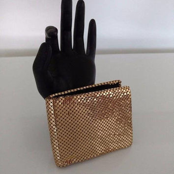 On Sale Vintage WHITING & DAVIS Gold Metal Mesh Wallet 1950's Mad Men Mod Old Hollywood Glam Purse Accessory