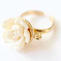Vintage White Ring, Rose Ring, Flower RIng, 24K Gold Plated Adjustable Ring