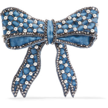 Gucci - Velvet, crystal, bead and faux pearl brooch
