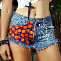 Halloween costume high waisted denim shorts high rise frayed denim shorts by Jeansonly