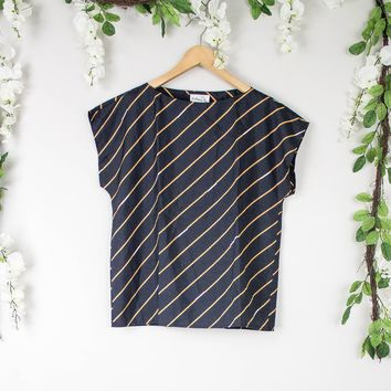 Vintage Striped Dark Boxy Top