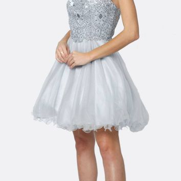 Fit-and-Flare Halter Neck Short Dress Silver Homecoming Party