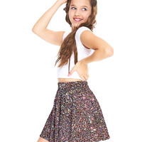 Girls Multi Glitter Skater Skirt