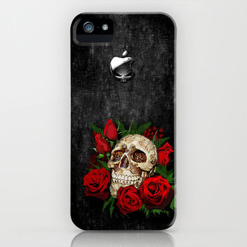 Sugar Skull with red rose apple iPhone 3, 4 4s, 5 5s 5c, iPod case