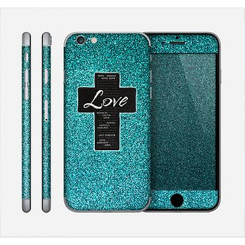 The Love is Patient Cross on Teal Glitter Print Skin for the Apple iPhone 6