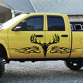Deer Rack Buck Redneck flamed Tribal Tattoo Truck vinyl will fit any car tr003