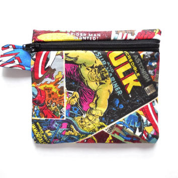 Wallet - Marvel Comics Cotton - Spiderman Incredible Hulk - Small Zipper Pouch - Fun Cartoon Coin Purse - Light Little Cute Soft Bag
