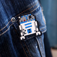 Star Wars R2D2 Pin Fan Art Brooch Accessory by BeadxBead on Etsy