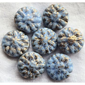 Five Czech glass Dahlia flower beads, Opaque Sky Blue with gold spatter - 14mm floral disc or coin beads C0905