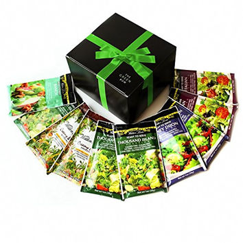 Walden Farms Calorie Free Dressing 10 x 1 oz - Assortment Healthy Salad Sauces - 2 in every Flavor of Ranch, Italian, Creamy Bacon, Thousand Island, and Honey Dijon | Carb-Free Food with Gift Box