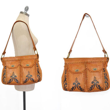 Jurado Tooled Leather Bag • 1950s Leather Bag • 50s Tooled Leather Purse • Tooled + Hand Painted Shoulder Bag • Vintage Leather Bag