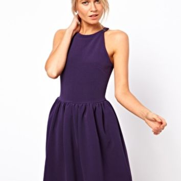 ASOS Rib Skater Dress - Navy