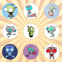 GIR Set of 9 - 1 Inch Pinback Buttons or Magnets