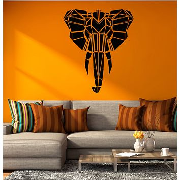 Vinyl Wall Decal Abstract Geometric Elephant Head Polygon African Animal Wildlife Stickers (4259ig)