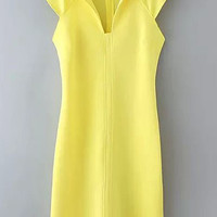 Yellow V-Neck Back Zipper Bodycon Dress