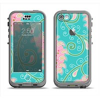 The Pink & Teal Paisley Design Apple iPhone 5c LifeProof Nuud Case Skin Set