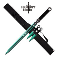 Fantasy Master 28 Inch Fantasy Sword and Throwing Knife Green 3 Piece Set