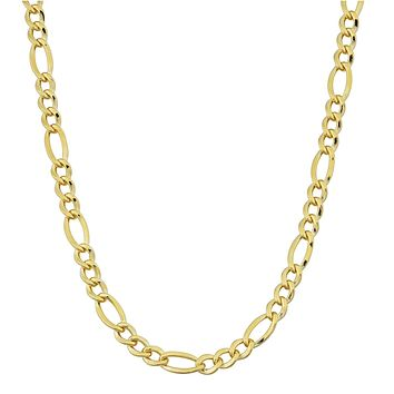 14K Yellow Gold Filled Solid Figaro Chain Necklace, 3.2 mm Wide