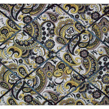 Black & Yellow Paisley fabric ~ French Memo Board by ToileChicBoutique