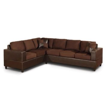 2 Piece Reversible Microfiber Fabric & Faux Leather Sectional Sofa, Chocolate Finish