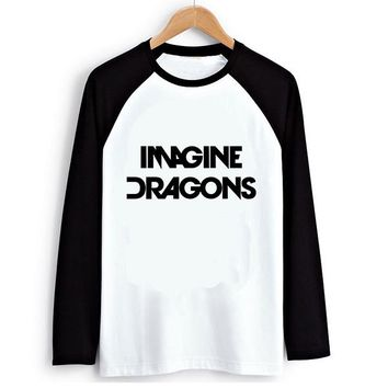 Imagine Dragons Women PVC Letter Print T-shirt Female Raglan Long Sleeve Tshirt