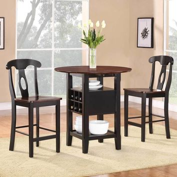 3 Piece CoUnter Height Dining Room Set, Black & Oak Brown
