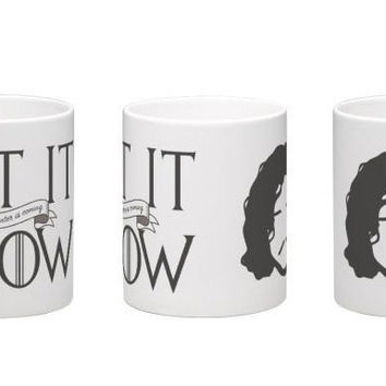 "Game of Thrones mug Jon Snow ""Let It Snow Winter is Coming"""