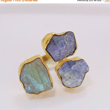 20% Off Mothers Day Sale Semi Precious Ring - Raw Labradorite Ring - Designer Ring - Tanzanite Ring - Cocktail Ring - Large Stone Ring - Adj