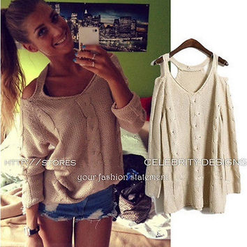 Celebrity Style Women Cut-out Shoulder Slouchy Knitted Sweater Jumper Pullover Tops Autumn Knitwear 2014 New = 1920479364