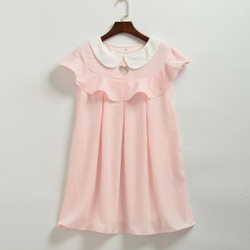 Mori Girls Peter Pan Collar Sweet Heart Hollow Out Casual Ruffled Dress